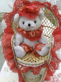 red and white bear w chair
