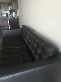 Tufted black leather 2-seat sofa Centennial, 80122