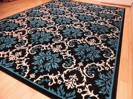 NEW Blue floral area rug new Modern Black  rugs