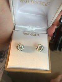 10KT gold colorful crystal ball earrings  Severn, 21144