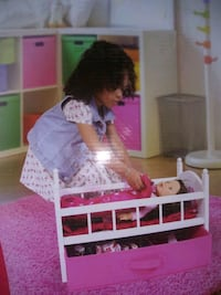 Wood Doll Crib With Drawer