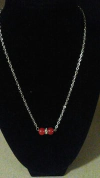 red beaded silver chain necklace Prattville, 36067