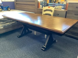 New Almond Brown and Black Table w/ Butterfly Leaf