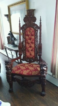 brown wooden framed red and white floral padded armchair Schuylkill Haven, 17972