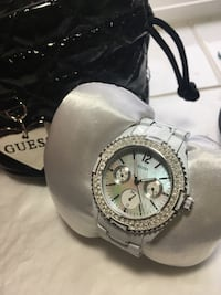 White Guess Watch with Swarovski Crystals VANCOUVER