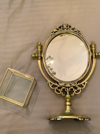 Brass Table Accessory - Glass Jewellry Box & Gold Mirror stand New Westminster
