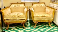 Set of 2 gold hand carved rococo accent chairs Victorian great condition San Diego, 92127