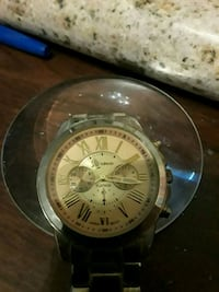 round silver-colored chronograph watch with black leather strap Pasadena, 77506