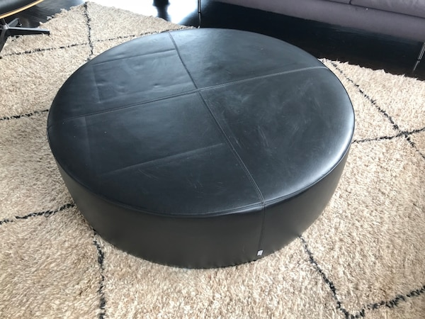 Used Round Black Leather Ottoman Chair For Sale In New York Letgo