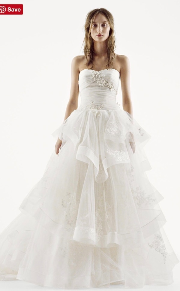 Used White by Vera Wang Strapless Tulle Wedding Dress VW351197 SIZE ...