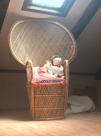 white wicker basket with pink and white plastic toy Rockwood, 37880