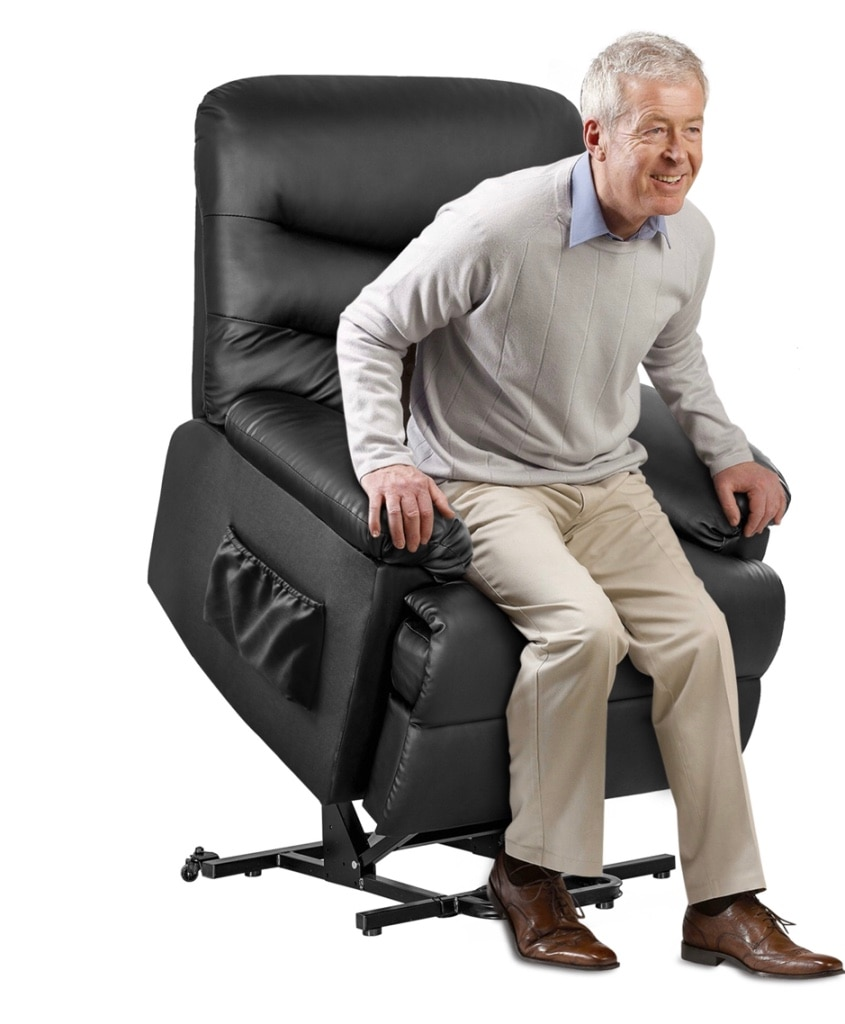 Sold Black PU Leather Power Recliner and Lift Chair Lifting
