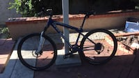 blue and black hardtail mountain bike null
