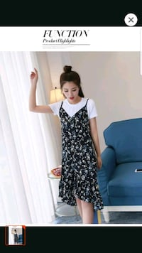women's black and white floral dress Singapore, 533986