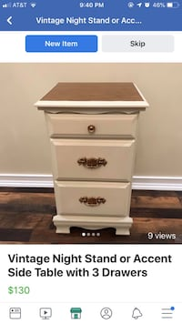 Cottage Shabby Chic Vintage Accent Side Table with 3 Drawers Salisbury Mills, 12577