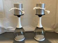 White Rope & Sand Glass Candle Holders