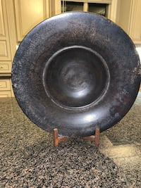 RUSTIC METAL BLACK BOWL WITH  BROWN METAL STAND- Height: 16 in.  Calgary, T3H 3C7