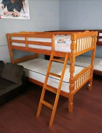 Brand New Twin Size Honey Oak Wood Bunk Bed + 2 Mattresses  Silver Spring, 20910