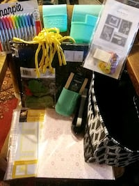 Scrapbook with accessories and tote full of stuff
