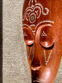 1970's Handmade Teak Wood with Abalone Inlay Wall Decor Mask Face Mesa, 85202