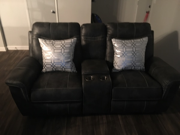 Slate Grey leather home theater sofa