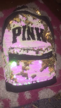 Pink) the brand pink & gold transparent bookbag $80 real price willing to negotiate