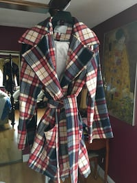 White, blue, and red plaid trench coat Brookline, 02445