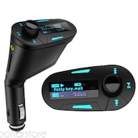Reproductor MP3 transmisor FM de mechero de coche con USB LED Azul Bonares