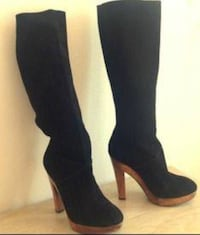 pair of black suede knee-high boots Vancouver, V5S 4P6