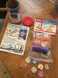 Old toys. Tinker toy and Pogs