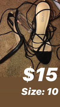 black and white leather open toe ankle strap heels Baltimore, 21239