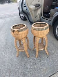 two brown wooden pedestal tables Irving, 75061