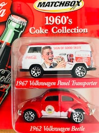 1960's white Matchbox Coke Collection's 1967 Volkswagen Panel Transporter and 1962 Volkswagen Beetle die-cast scale models with pack