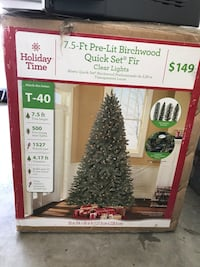 holiday time 7.5 ft pre-lit birchwood quick set for box
