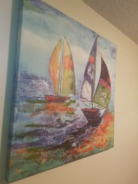 purple, red and green sailboats painting Edmonton, T6H 4W3