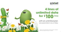 4 lines of unlimited text, calling, & data for $100 per month!! Front Royal