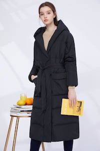 Dezoee Fashion: Long Black Hooded Winter Jacket with Waistband TORONTO