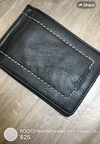 ROOTS*leathet wallet with money clip like NEW! Barely used London, N5W 1E8