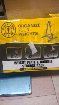 Gold's Gym weight plate and barbell storage rack compact design  Philadelphia, 19136