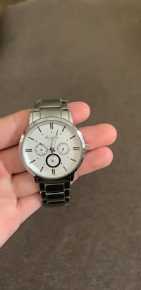 Round silver-colored chronograph watch with link bracelet Orlando, 32828
