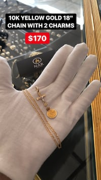 10K REAL YELLOW GOLD CHAIN WITH 2 CHARMS Toronto, M2J 4E3
