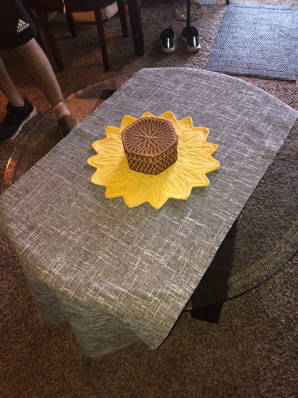 coffee table (handmade wooden stained base) 3234283f-2d70-496b-b4fb-b6e790c8858f