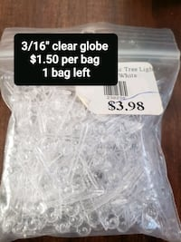 3/16 1 bag left Clear globes  100pk Must pick up  Welland, L3B 5N6