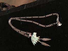 925 turquoise eagle head necklace
