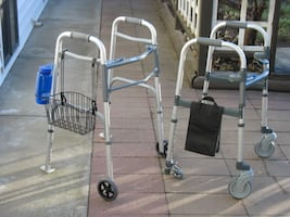 TWO DELUXE INVACARE  (2 WHEEL) WALKERS FOR SALE