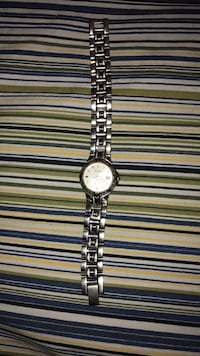 round silver-colored analog watch with link bracelet Newark, 07104