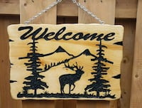 Hand carved wooden sign.  Mississauga, L5N 2X3