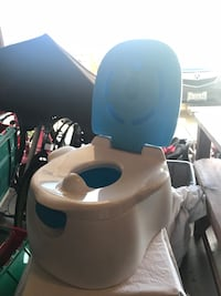 white and teal potty trainer