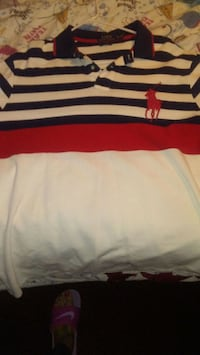 white and red striped polo shirt with 4 extrashirt Dallas, 75235