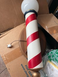 Vintage wooden barber pole that lights up unit does not light up that needs a new cord made in the 1950s in perfect condition other than electrical issue Indio, 92201